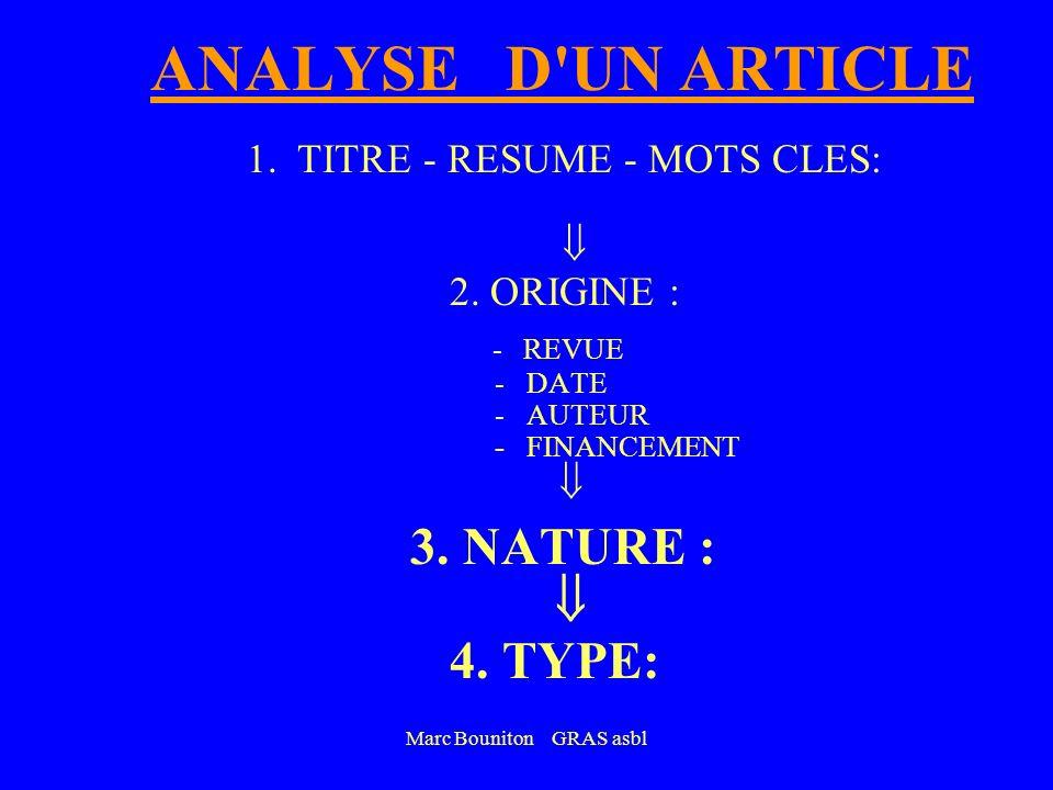 Marc Bouniton GRAS asbl ANALYSE D'UN ARTICLE 1.TITRE - RESUME - MOTS CLES: 2. ORIGINE : - REVUE : - DATE: < 5 ans ? - AUTEUR: Honoraire ? Fantôme ? Co