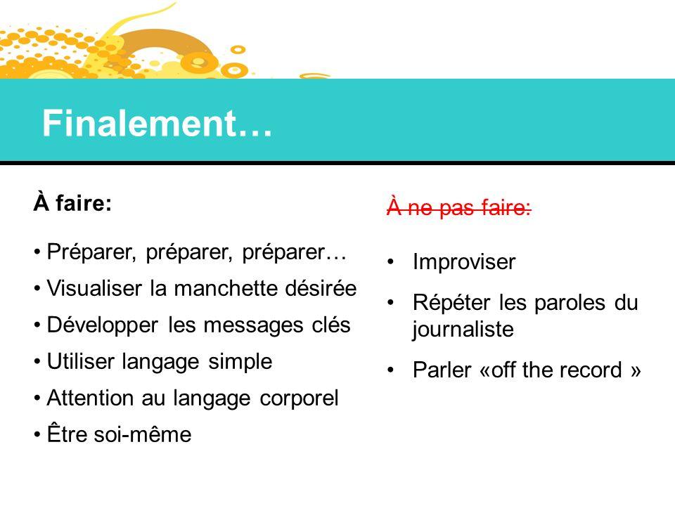 Finalement… À faire: Préparer, préparer, préparer… Visualiser la manchette désirée Développer les messages clés Utiliser langage simple Attention au l