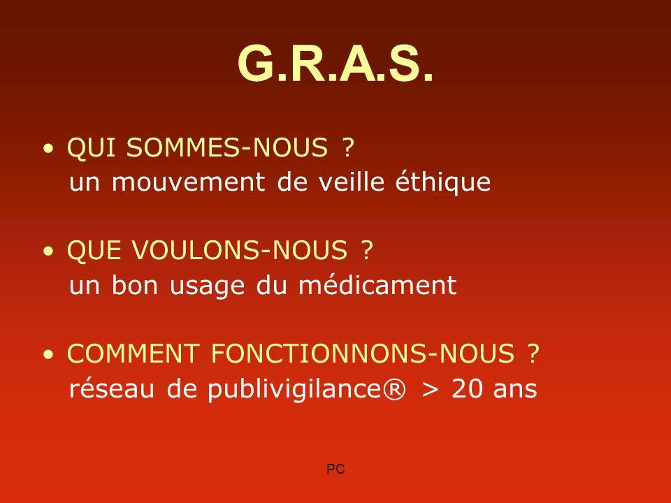 PC G.R.A.S. QUI SOMMES-NOUS ? un mouvement de veille éthique QUE VOULONS-NOUS ? un bon usage du médicament COMMENT FONCTIONNONS-NOUS ? réseau de publi
