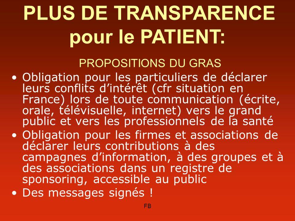 FB Obligation pour les particuliers de déclarer leurs conflits dintérêt (cfr situation en France) lors de toute communication (écrite, orale, télévisu