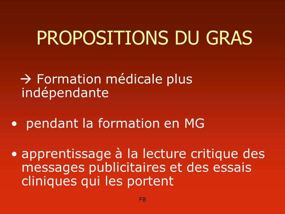 FB PROPOSITIONS DU GRAS Formation médicale plus indépendante pendant la formation en MG apprentissage à la lecture critique des messages publicitaires