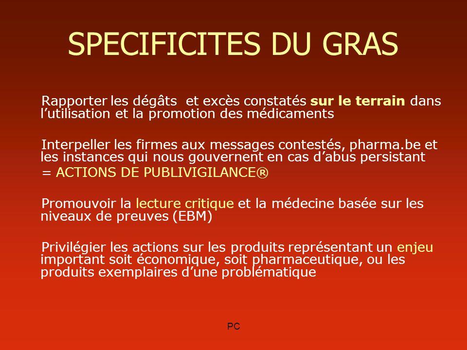 PC SPECIFICITES DU GRAS Rapporter les dégâts et excès constatés sur le terrain dans lutilisation et la promotion des médicaments Interpeller les firme