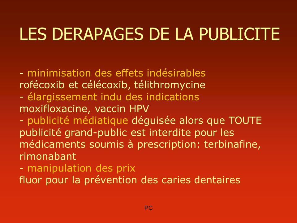 PC LES DERAPAGES DE LA PUBLICITE - minimisation des effets indésirables rofécoxib et célécoxib, télithromycine - élargissement indu des indications mo