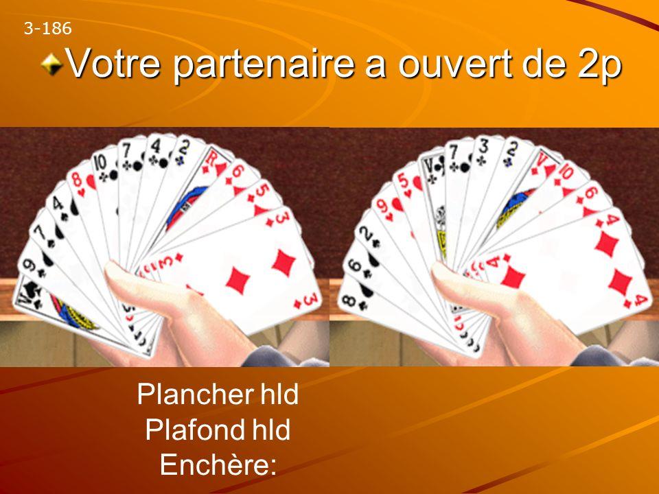 Votre partenaire a ouvert de 2p 3-186 Plancher hld Plafond hld Enchère: