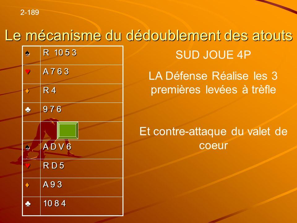 Le mécanisme du dédoublement des atouts 10 8 4 A 9 3 R D 5 A D V 6 9 7 6 R 4 A 7 6 3 R 10 5 3 2-189 SUD JOUE 4P LA Défense Réalise les 3 premières lev