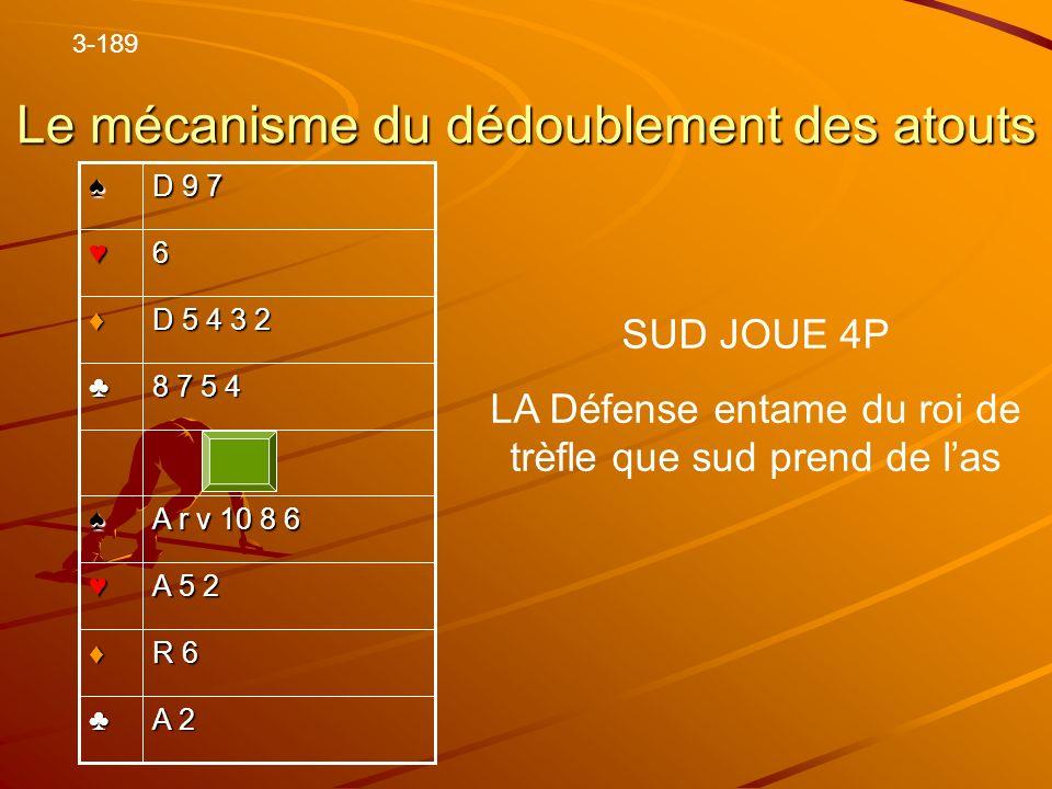 Le mécanisme du dédoublement des atouts A 2 R 6 A 5 2 A r v 10 8 6 8 7 5 4 D 5 4 3 2 6 D 9 7 3-189 SUD JOUE 4P LA Défense entame du roi de trèfle que