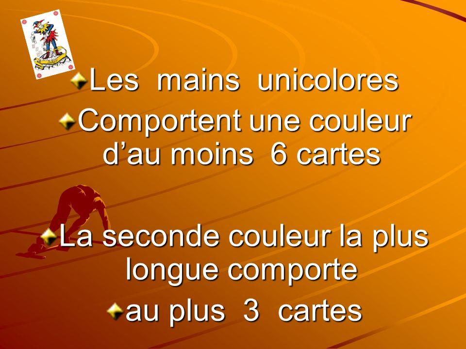 Les mains unicolores Comportent une couleur dau moins 6 cartes La seconde couleur la plus longue comporte au plus 3 cartes