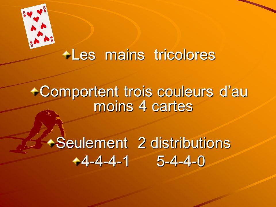 Les mains tricolores Comportent trois couleurs dau moins 4 cartes Seulement 2 distributions 4-4-4-1 5-4-4-0