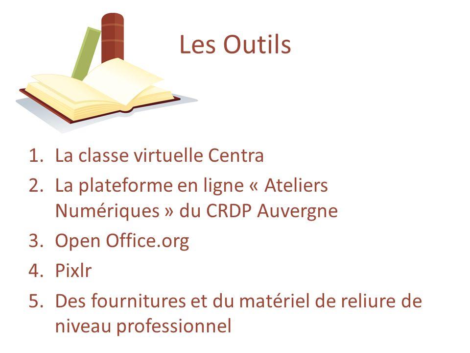 1.La classe virtuelle Centra 2.La plateforme en ligne « Ateliers Numériques » du CRDP Auvergne 3.Open Office.org 4.Pixlr 5.Des fournitures et du matér
