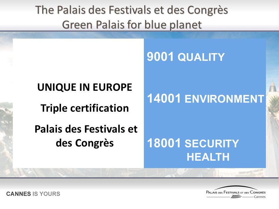 The Palais des Festivals et des Congrès Green Palais for blue planet UNIQUE IN EUROPE Triple certification Palais des Festivals et des Congrès 9001 QU
