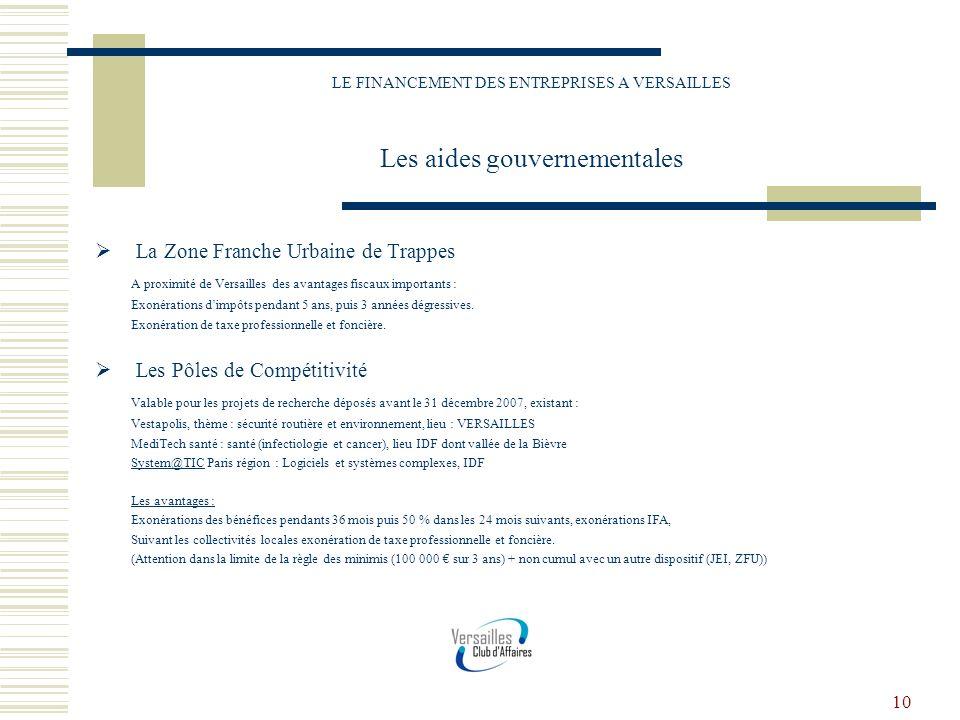 10 LE FINANCEMENT DES ENTREPRISES A VERSAILLES Les aides gouvernementales La Zone Franche Urbaine de Trappes A proximité de Versailles des avantages f