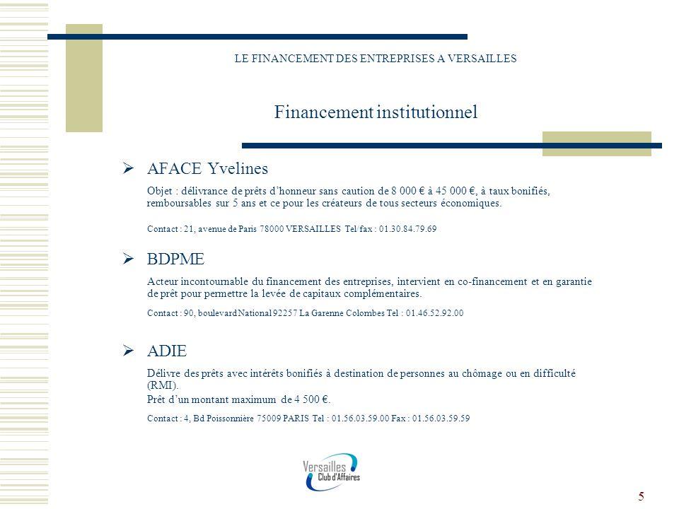 5 LE FINANCEMENT DES ENTREPRISES A VERSAILLES Financement institutionnel AFACE Yvelines Objet : délivrance de prêts dhonneur sans caution de 8 000 à 4