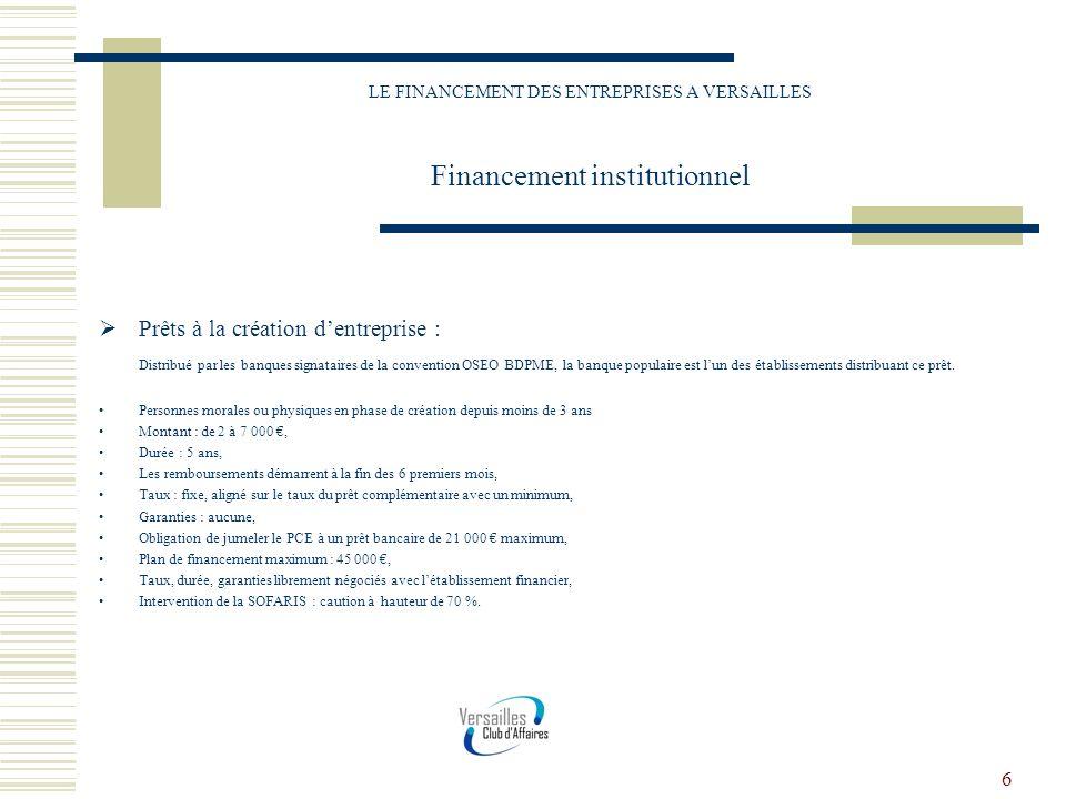 6 LE FINANCEMENT DES ENTREPRISES A VERSAILLES Financement institutionnel Prêts à la création dentreprise : Distribué par les banques signataires de la