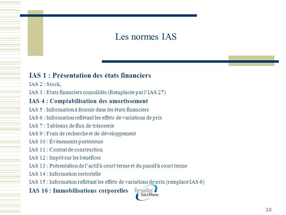 10 Les normes IAS IAS 1 : Présentation des états financiers IAS 2 : Stock, IAS 3 : Etats financiers consolidés (Remplacée par lIAS 27) IAS 4 : Comptab
