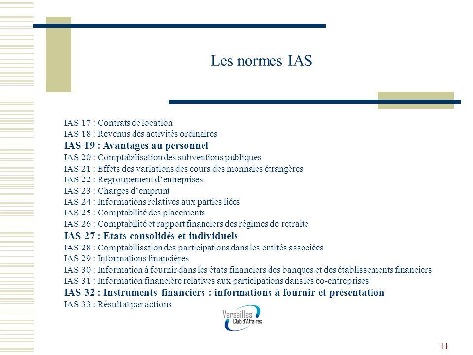 11 Les normes IAS IAS 17 : Contrats de location IAS 18 : Revenus des activités ordinaires IAS 19 : Avantages au personnel IAS 20 : Comptabilisation de