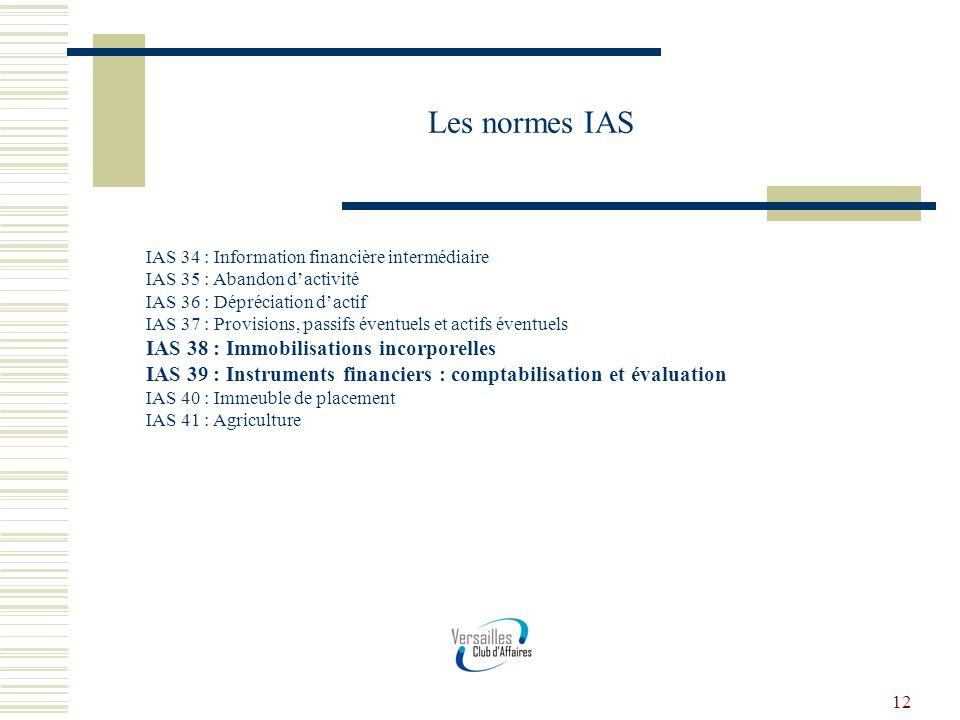 12 Les normes IAS IAS 34 : Information financière intermédiaire IAS 35 : Abandon dactivité IAS 36 : Dépréciation dactif IAS 37 : Provisions, passifs é
