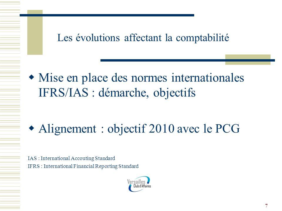 7 Les évolutions affectant la comptabilité Mise en place des normes internationales IFRS/IAS : démarche, objectifs Alignement : objectif 2010 avec le