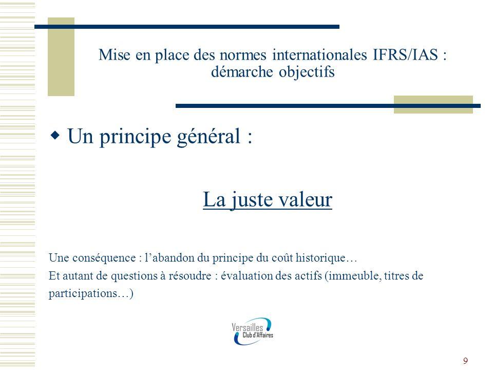 9 Mise en place des normes internationales IFRS/IAS : démarche objectifs Un principe général : La juste valeur Une conséquence : labandon du principe