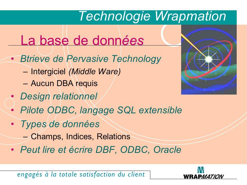 Btrieve de Pervasive Technology –Intergiciel (Middle Ware) –Aucun DBA requis Design relationnel Pilote ODBC, langage SQL extensible Types de données –Champs, Indices, Relations Peut lire et écrire DBF, ODBC, Oracle ées La base de données