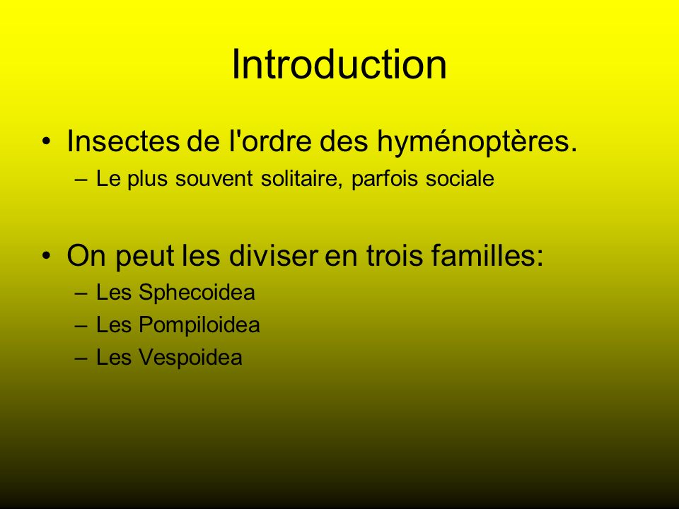 Introduction Insectes de l'ordre des hyménoptères. –Le plus souvent solitaire, parfois sociale On peut les diviser en trois familles: –Les Sphecoidea