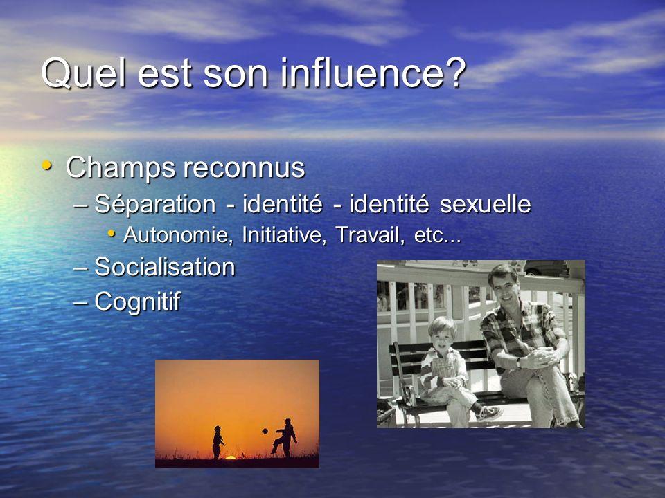 Quel est son influence? Champs reconnus Champs reconnus –Séparation - identité - identité sexuelle Autonomie, Initiative, Travail, etc... Autonomie, I