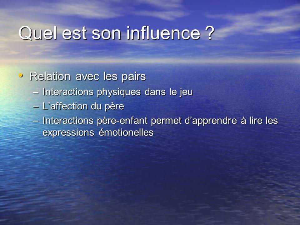 Quel est son influence ? Relation avec les pairs Relation avec les pairs –Interactions physiques dans le jeu –Laffection du père –Interactions père-en