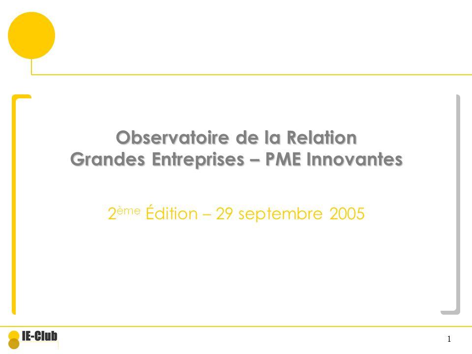 1 Observatoire de la Relation Grandes Entreprises – PME Innovantes 2 ème Édition – 29 septembre 2005