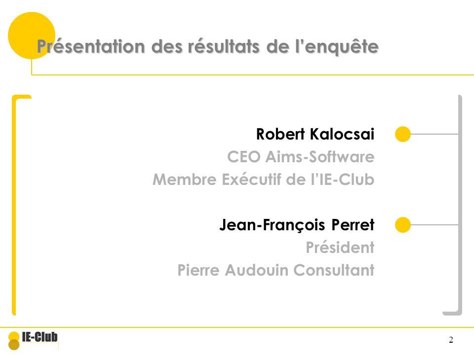 2 Présentation des résultats de lenquête Robert Kalocsai CEO Aims-Software Membre Exécutif de lIE-Club Jean-François Perret Président Pierre Audouin C