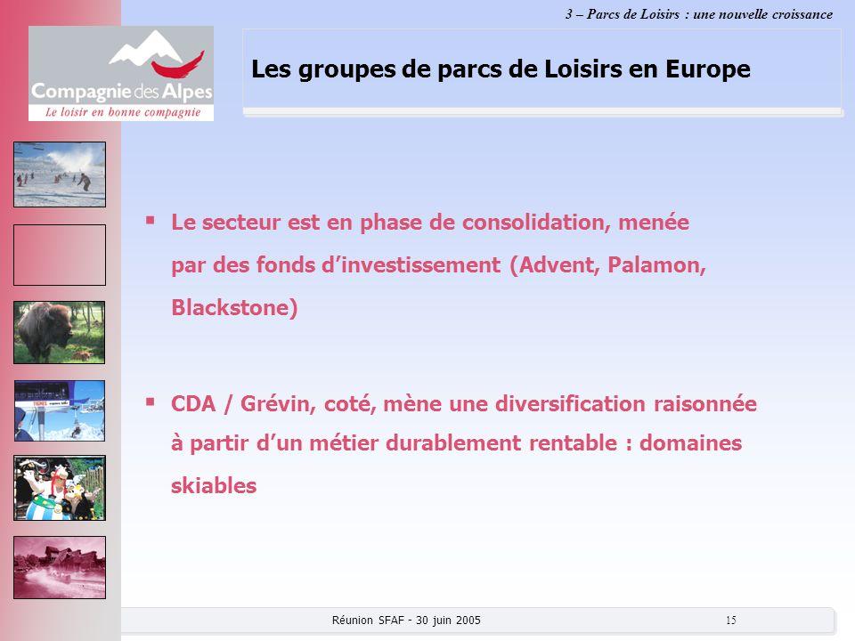 Réunion SFAF - 30 juin 2005 15 Les groupes de parcs de Loisirs en Europe Le secteur est en phase de consolidation, menée par des fonds dinvestissement