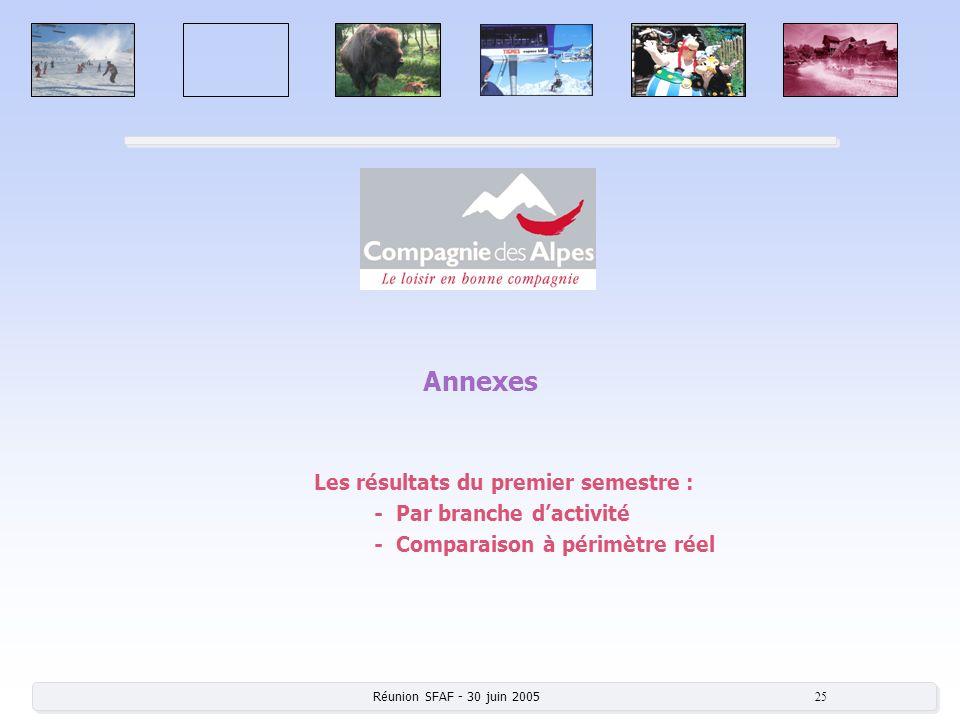 Réunion SFAF - 30 juin 2005 25 Annexes Les résultats du premier semestre : - Par branche dactivité - Comparaison à périmètre réel