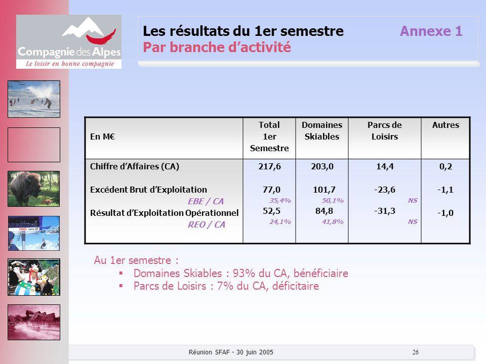 Réunion SFAF - 30 juin 2005 26 Les résultats du 1er semestre Annexe 1 Par branche dactivité En M Total 1er Semestre Domaines Skiables Parcs de Loisirs