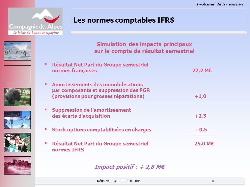 Réunion SFAF - 30 juin 2005 8 Les normes comptables IFRS Résultat Net Part du Groupe semestriel normes françaises 22,2 M Amortissements des immobilisa