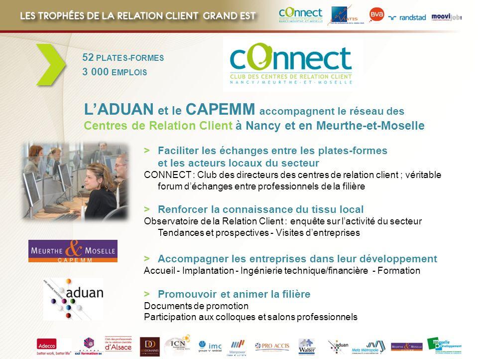 Alsace et Lorraine 52 PLATES-FORMES 3 000 EMPLOIS > Faciliter les échanges entre les plates-formes et les acteurs locaux du secteur CONNECT : Club des