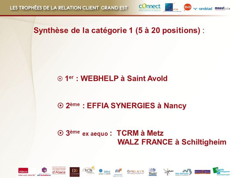 Alsace et Lorraine 1 er : WEBHELP à Saint Avold 2 ème : EFFIA SYNERGIES à Nancy 3 ème ex aequo : TCRM à Metz WALZ FRANCE à Schiltigheim Synthèse de la