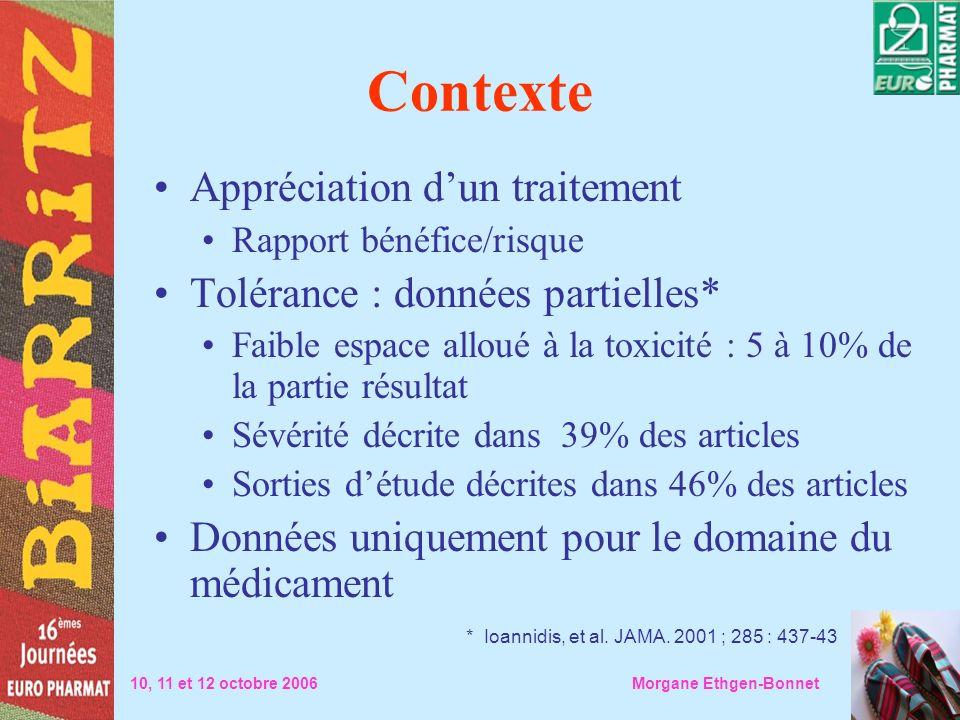 Contexte Appréciation dun traitement Rapport bénéfice/risque Tolérance : données partielles* Faible espace alloué à la toxicité : 5 à 10% de la partie