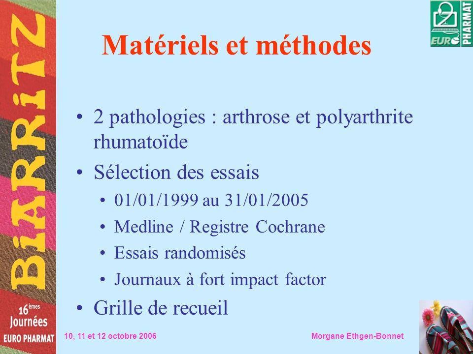 Matériels et méthodes 2 pathologies : arthrose et polyarthrite rhumatoïde Sélection des essais 01/01/1999 au 31/01/2005 Medline / Registre Cochrane Es