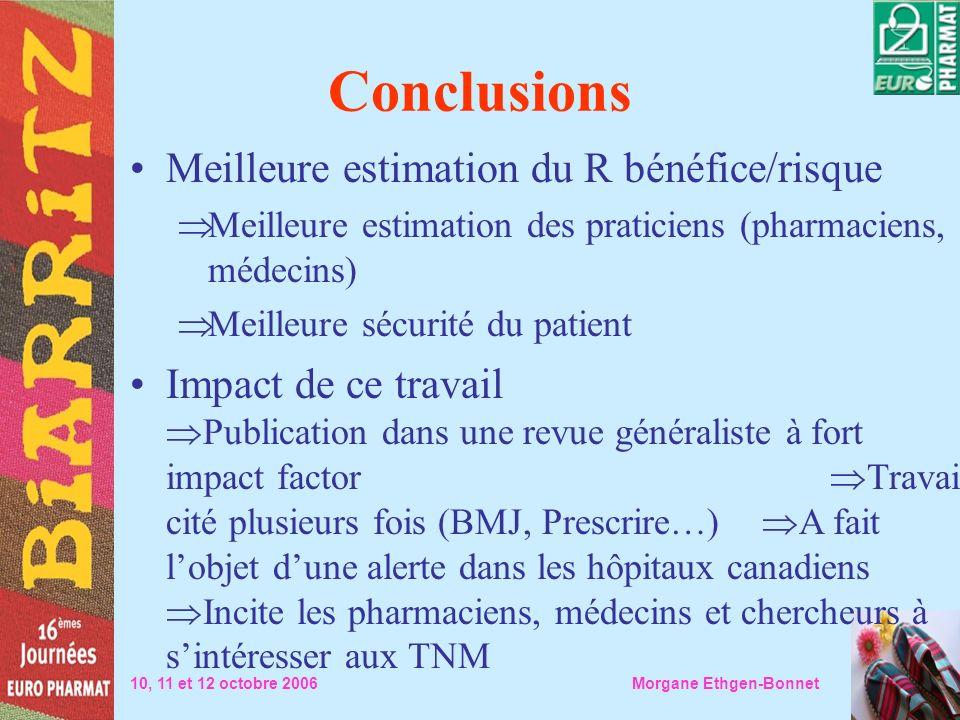 Conclusions 10, 11 et 12 octobre 2006 Morgane Ethgen-Bonnet Meilleure estimation du R bénéfice/risque Meilleure estimation des praticiens (pharmaciens