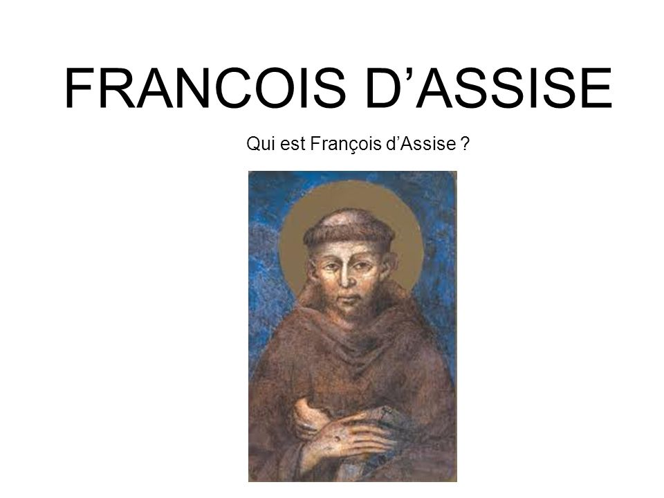 FRANCOIS DASSISE Qui est François dAssise ?