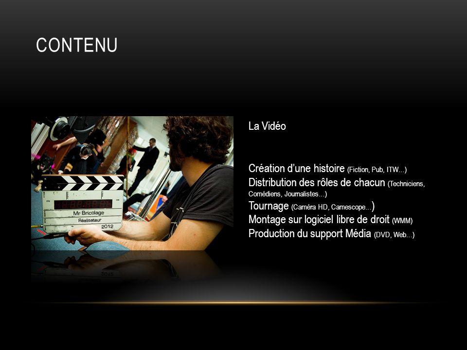 CONTENU La Vidéo Création dune histoire (Fiction, Pub, ITW…) Distribution des rôles de chacun (Techniciens, Comédiens, Journalistes…) Tournage (Caméra
