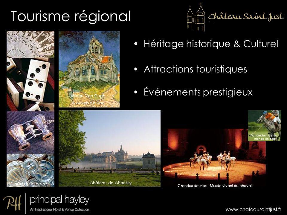 www.chateausaintjust.fr Héritage historique & Culturel Attractions touristiques Événements prestigieux Château de Chantilly Grandes écuries – Musée vi
