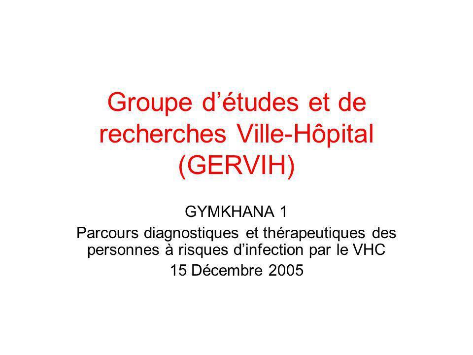 Groupe détudes et de recherches Ville-Hôpital (GERVIH) GYMKHANA 1 Parcours diagnostiques et thérapeutiques des personnes à risques dinfection par le V