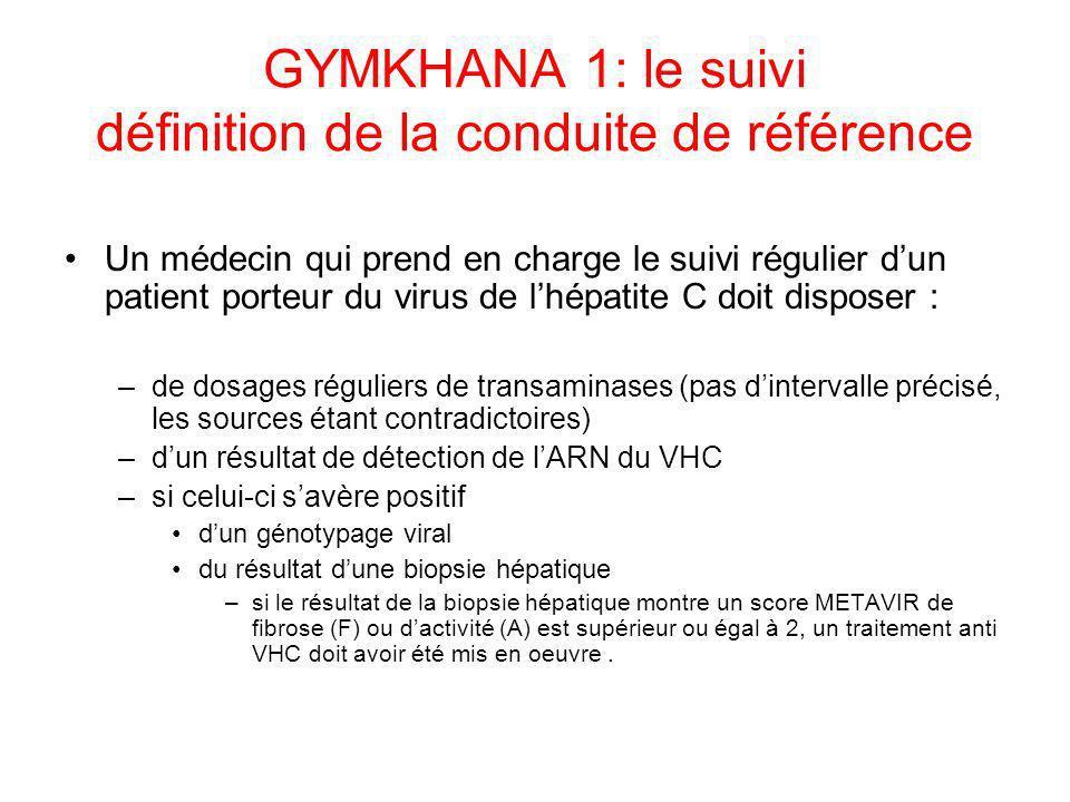 GYMKHANA 1: le suivi définition de la conduite de référence Un médecin qui prend en charge le suivi régulier dun patient porteur du virus de lhépatite