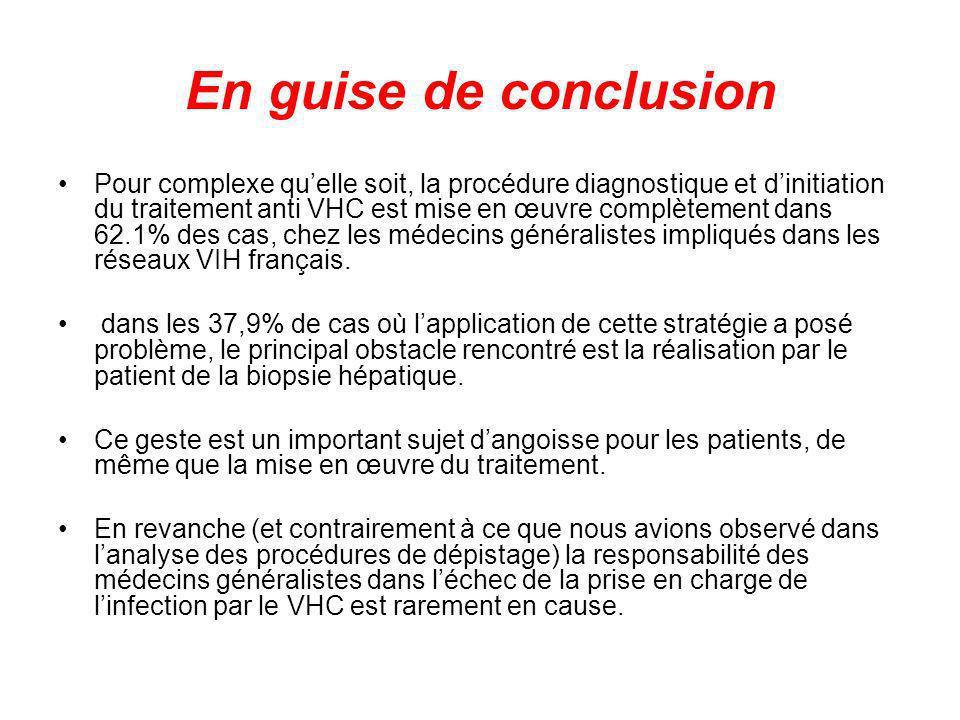 En guise de conclusion Pour complexe quelle soit, la procédure diagnostique et dinitiation du traitement anti VHC est mise en œuvre complètement dans