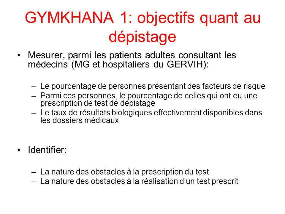 GYMKHANA 1: objectifs quant au dépistage Mesurer, parmi les patients adultes consultant les médecins (MG et hospitaliers du GERVIH): –Le pourcentage d
