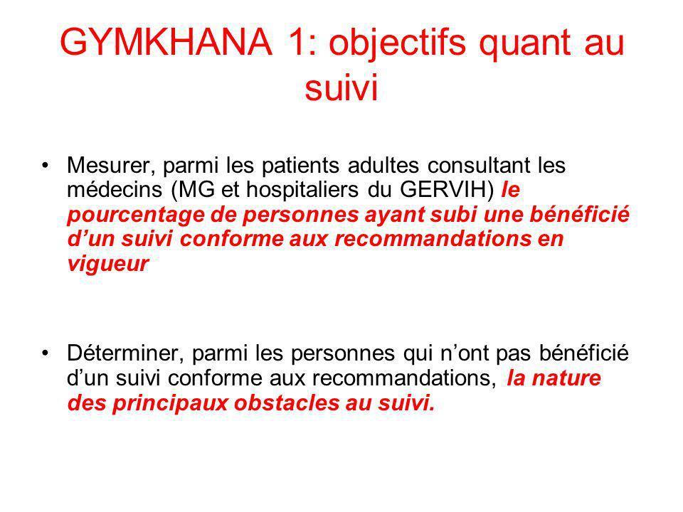 GYMKHANA 1: objectifs quant au suivi Mesurer, parmi les patients adultes consultant les médecins (MG et hospitaliers du GERVIH) le pourcentage de pers