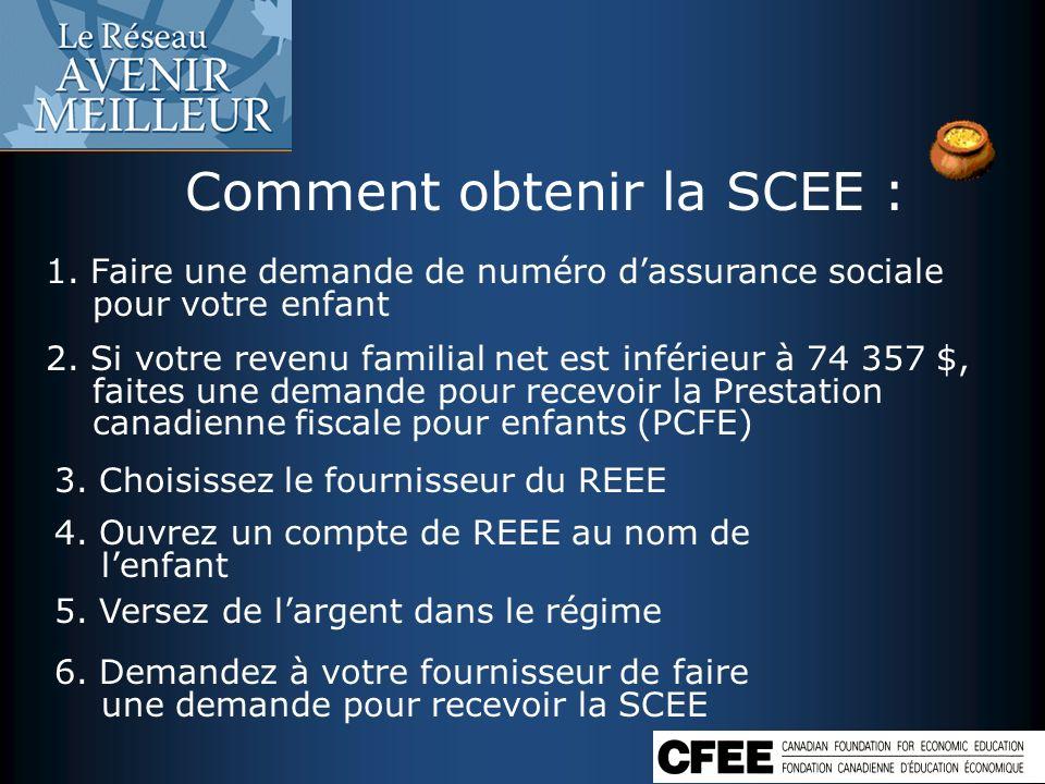 Comment obtenir la SCEE : 1. Faire une demande de numéro dassurance sociale pour votre enfant 2. Si votre revenu familial net est inférieur à 74 357 $