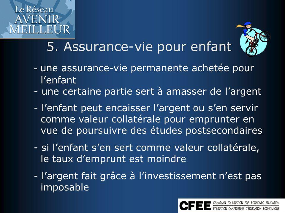 5. Assurance-vie pour enfant - une assurance-vie permanente achetée pour lenfant - une certaine partie sert à amasser de largent - lenfant peut encais