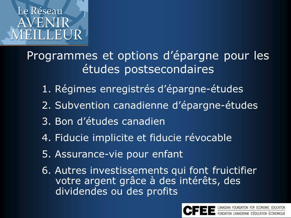 Programmes et options dépargne pour les études postsecondaires 1. Régimes enregistrés dépargne-études 2. Subvention canadienne dépargne-études 3. Bon