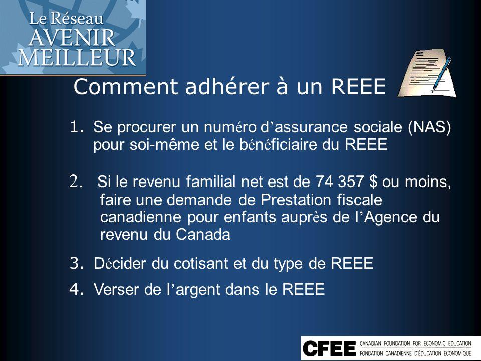Comment adhérer à un REEE 1. Se procurer un num é ro d assurance sociale (NAS) pour soi-même et le b é n é ficiaire du REEE 2. Si le revenu familial n
