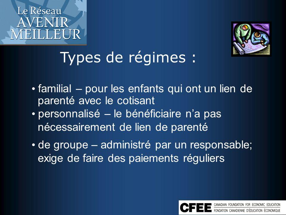 Types de régimes : familial – pour les enfants qui ont un lien de parenté avec le cotisant personnalisé – le bénéficiaire na pas nécessairement de lie